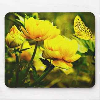 Yellow Butterfly and the Rose Mousepad