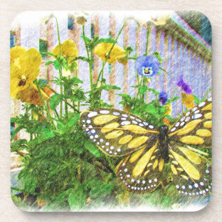 Yellow Butterfly and Viola Flowers Drink Coaster