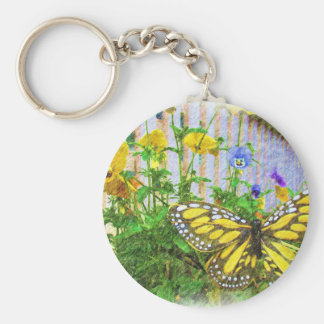 Yellow Butterfly and Viola Flowers Keychain