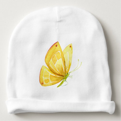 YELLOW BUTTERFLY BABY BEANIE