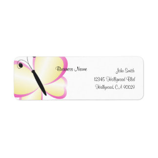 Yellow Butterfly Business Address Label