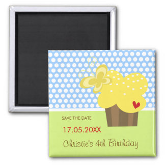Yellow Butterfly Cupcake Birthday Save The Date 2 Inch Square Magnet