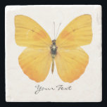 "Yellow Butterfly Custom Stone Coaster<br><div class=""desc"">Elegant stone coaster with digital graphics of a yellow butterfly.  Black script text reads whatever you want it to say.  Makes a lovely gift idea.</div>"