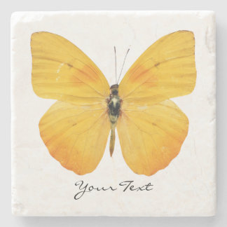 Yellow Butterfly Custom Stone Coaster