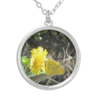 Yellow Butterfly Feeding on Yellow Flower Necklace