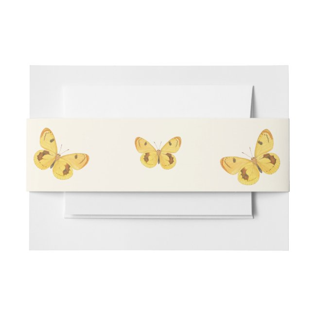 Yellow Butterfly Fine Art Invitation Belly Band