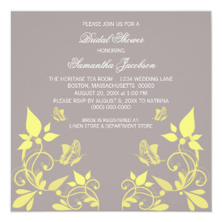 Yellow Butterfly Floral Bridal Shower Invite