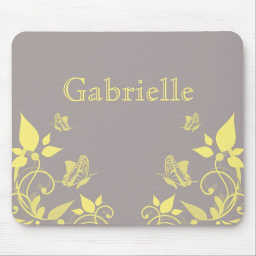 Yellow Butterfly Floral Mousepad