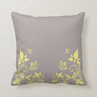 Yellow Butterfly Floral Pillow