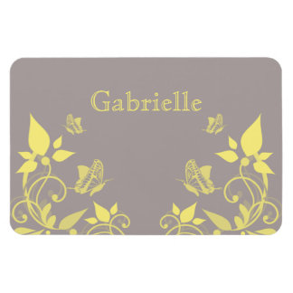 Yellow Butterfly Floral Premium Magnet