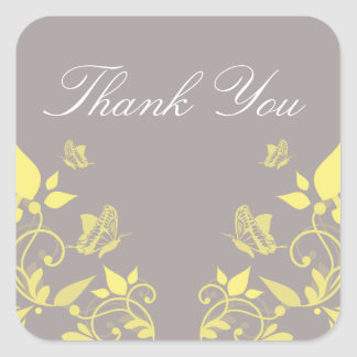 Yellow Butterfly Floral Thank You Stickers