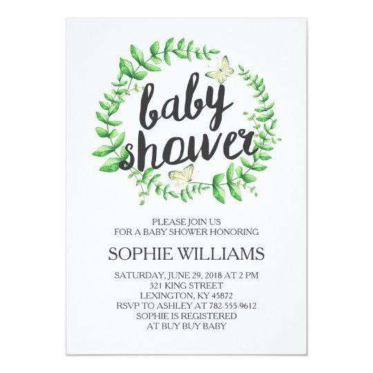 Yellow butterfly green wreath baby shower invitation zazzle yellow butterfly green wreath baby shower invitation filmwisefo