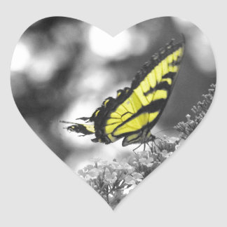 Yellow Butterfly Heart Sticker