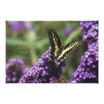 "Yellow Butterfly I, quote - XL, ~ 60"" x 40"" Stretched Canvas Print"