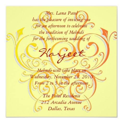 Yellow butterfly 5.25x5.25 square paper invitation card
