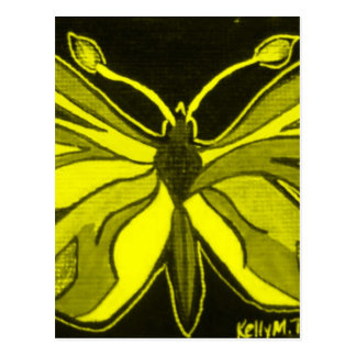 Yellow Butterfly Lady Insect Postcard