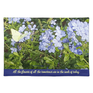 Yellow Butterfly Lavender Blue Flowers in a Park Cloth Placemat