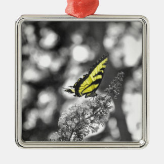 Yellow Butterfly Metal Ornament
