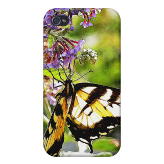 Yellow Butterfly on Lavender Butterfly Bush Case For iPhone 4