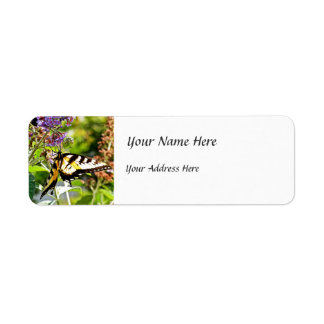 Yellow Butterfly on Lavender Butterfly Bush Label