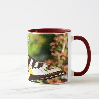Yellow Butterfly on Lavender Butterfly Bush Mug