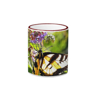 Yellow Butterfly on Lavender Butterfly Bush Ringer Coffee Mug