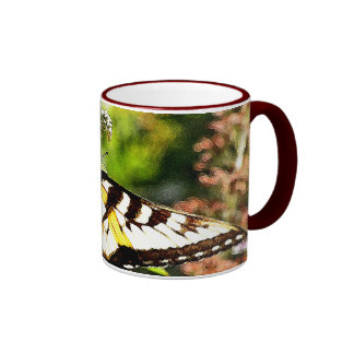 Yellow Butterfly on Lavender Butterfly Bush Coffee Mugs