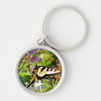 Yellow Butterfly on Lavender Butterfly Bush Silver-Colored Round Keychain