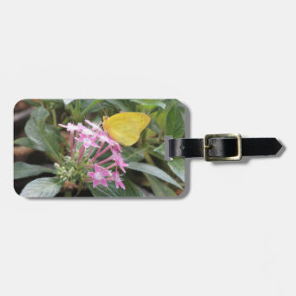 Yellow Butterfly on Pink Flowers Bag Tags