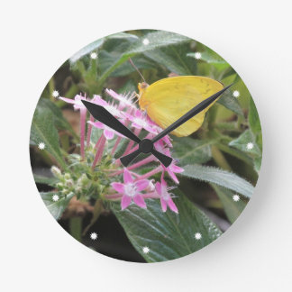Yellow Butterfly on Pink Flowers Round Clock
