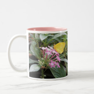 Yellow Butterfly on Pink Flowers Two-Tone Coffee Mug