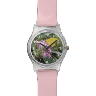 Yellow Butterfly on Pink Flowers Wristwatch