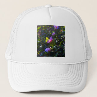 Yellow Butterfly on Pink Rose of Sharon Trucker Hat