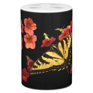 Yellow Butterfly on Red Flowers Flora Bathroom Set