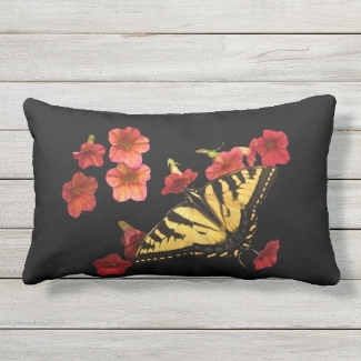 Yellow Butterfly on Red Flowers Outdoor Pillow