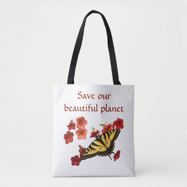Yellow Butterfly on Red Flowers Save Our Planet