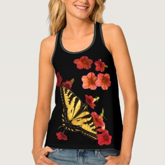 Yellow Butterfly on Red Flowers Tank Top