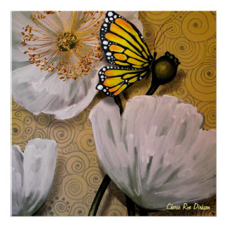 Yellow Butterfly on White Poppy Poster