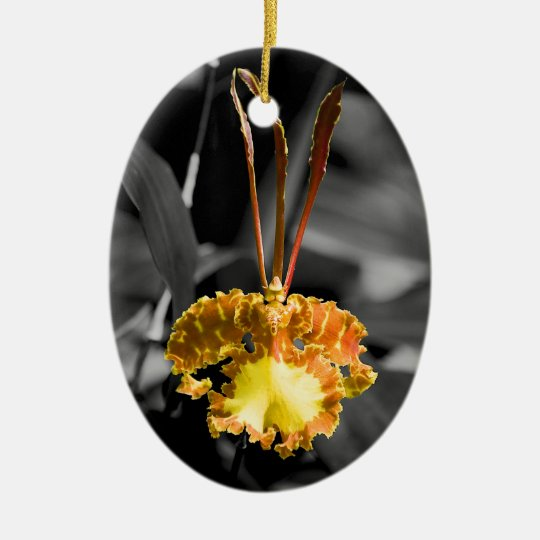 Yellow Butterfly Orchid Ceramic Ornament