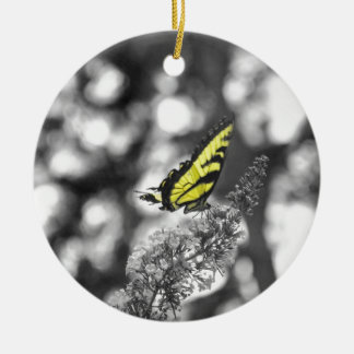 Yellow Butterfly Double-Sided Ceramic Round Christmas Ornament