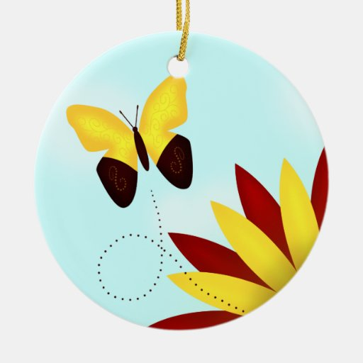 Yellow Butterfly Ornament with Red Sunflower