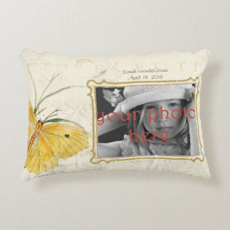 Yellow Butterfly Photo Frame Vintage Throw Pillow