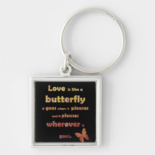 Yellow Butterfly Quote Key Chain