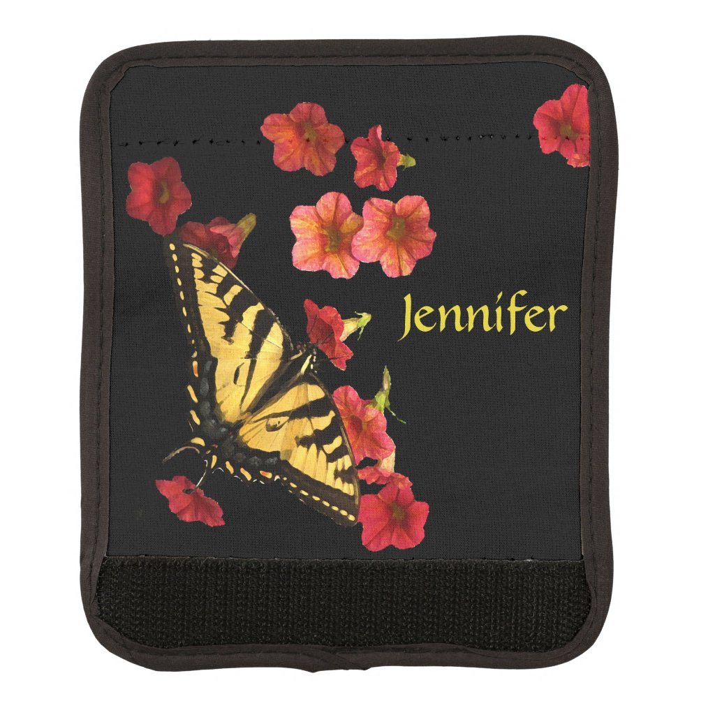 Yellow Butterfly Red Flower Luggage Handle Wrap