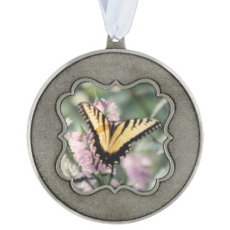 Yellow Butterfly Scalloped Ornament