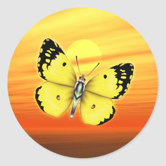 Yellow Butterfly Classic Round Sticker