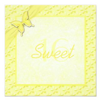 Yellow Butterfly Sweet Sixteen Invitation