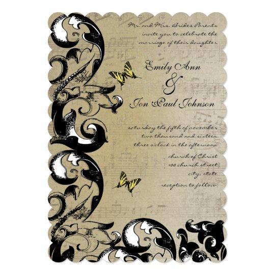 Yellow Butterfly Swirl Wedding Invitation