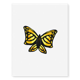Yellow butterfly temporary tattoo