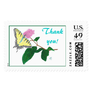 Yellow Butterfly Thank You Postage Stamps
